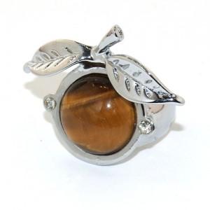 """Кольцо из стали и тигрового глаза """"Мэкинтош"""""""""""