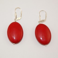 """Сережки из коралла """"Красный овал"""""""