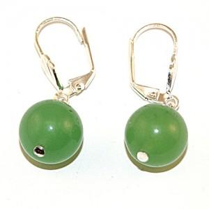 "Сережки из нефрита ""Зеленая вишня"""
