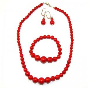 """Комплект бусы + браслет + сережки из коралла  """"Червона калина"""""""