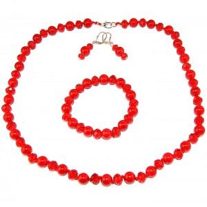 """Комплект бусы + сережки + браслет из коралла """"Красное великолепие"""""""
