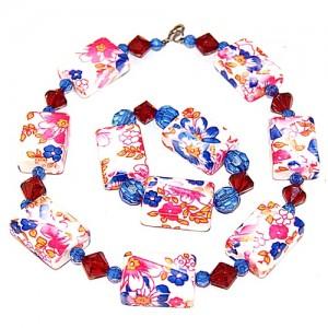"""Комплект бусы + браслет из венецианского стекла """"Летние каникулы"""""""