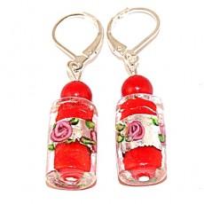 """Сережки из муранского стекла и коралла """"Роза в красном бокале"""""""