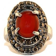 """Кольцо с сердоликом имитация капельного серебра """"Искра солнца"""""""