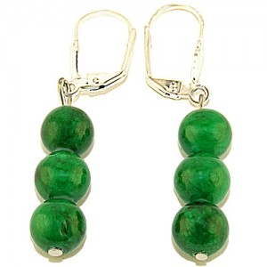 "Сережки из малахита Зеленая фейхоа"""