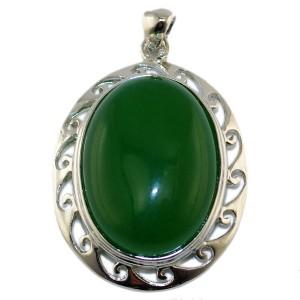 """Кулон из зеленого агата """"Гвинейская зелень"""""""