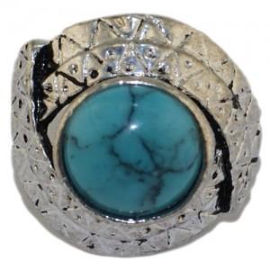 """Кольцо из бирюзы """"Голубой орнамент"""""""