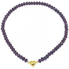 """Бусы-браслет из венецианского стекла """"Фиолетовое сердце"""""""