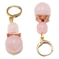 "Сережки с розовым кварцем ""Импульс любви"""