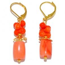 """Сережки из коралла """"Оранжевые бочонки"""""""