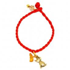 """Браслет красная нить с символом года """"Янтарная собачка"""""""