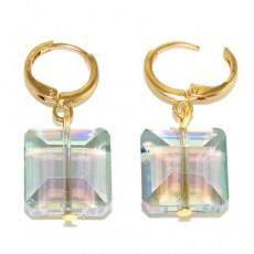 """сережки с кристаллами """"Аквамариновые кристаллы"""""""