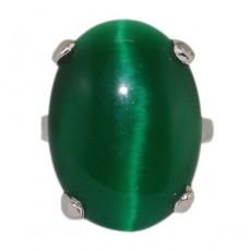 """Кольцо с зеленым кошачьим глазом """"Весенняя лужайка"""""""