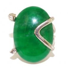 """Кольцо с хризопразом """"Зелёные глаза"""""""