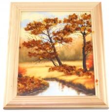 """Картина с янтарем """"Янтарный ручей"""""""