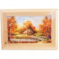 """Картина с янтарем """"Янтарный домик"""""""