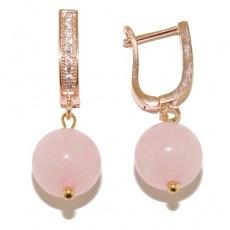 """Сережки из розового кварца """" Розовый сад"""""""