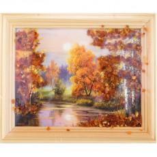 "Картина с янтарем ""Янтарный пейзаж"""