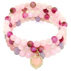 "Браслет из розового кварца и турмалина ""Турмалиновое сердце"""