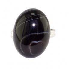 "Кольцо из черного глазкового агата ""Чёрное море"""