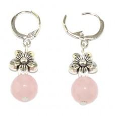 """Сережки из розового кварца """"Цветок любви"""""""