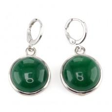 """Сережки из зелёного агата """"Зелёные глаза"""""""