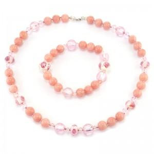 """Комплект для маленькой модницы из родонита """"Фея в розовом"""""""
