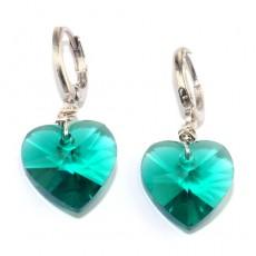 """Сережки с кристаллами """"Изумрудные сердечки"""""""
