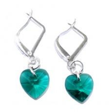 """Сережки с кристаллами """"Зелёные сердечки"""""""