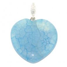 Кулон сердечко из голубого кварца