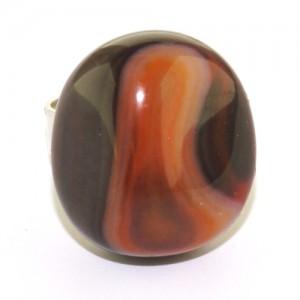 Кольцо из натурального пятнистого коричнево-черного агата